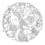 Le vin, la fleur, le coeur et le fruit abstraits tirés par la main graphiques noirs et blancs ont placé pour l'anniversaire, mari Image stock