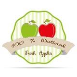 le vintage a barré l'illustration d'eco de santé de vecteur d'insigne de label d'affaires de jus de pomme Images stock