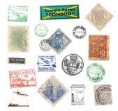 Le vintage d'affranchissement emboutit et des labels du Brésil Photographie stock