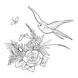 Le vintage d'ensemble fleurit le bouquet ou le modèle illustration libre de droits
