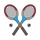 Le vintage d'illustration de bande dessinée de logo de badminton d'icône de vecteur de raquette de tennis folâtre coloré illustration stock