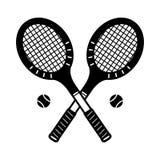 Le vintage d'illustration de logo de badminton d'icône de vecteur de raquette de tennis folâtre illustration stock