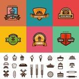 Le vintage de boutique de boulangerie marque la conception de vecteur de logo canette illustration stock