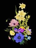 Le vintage de broderie fleurit le bouquet du pavot, jonquille, anémone, Images stock