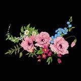 Le vintage de broderie fleurit le bouquet du pavot, jonquille, anémone, Photos stock