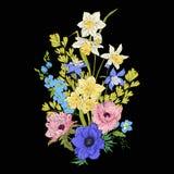 Le vintage de broderie fleurit le bouquet du pavot, jonquille, anémone, Image stock