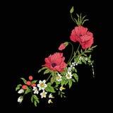 Le vintage de broderie fleurit le bouquet du pavot, jonquille, anémone, illustration de vecteur