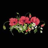 Le vintage de broderie fleurit le bouquet du pavot, jonquille, anémone, Photographie stock