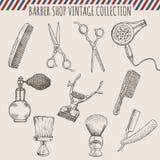 Le vintage de salon de coiffure de vecteur usine la collection Illustration tirée par la main de crayon illustration de vecteur