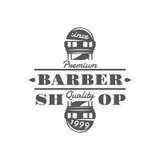 Le vintage de vecteur de salon de coiffure symbolise, des labels, des insignes et des logos dans le style monochrome illustration libre de droits