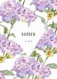 Le vintage fleurit dans le jardin avec le coeur et le fond floral Image libre de droits