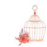 Le vintage fleurit le petit bouquet et la cage Photos libres de droits