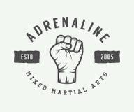 Le vintage a mélangé le logo, l'insigne ou l'emblème d'arts martiaux illustration stock