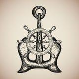 Le vintage Marine Anchor avec le volant d'isolement gravent Vecteur Image libre de droits