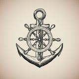 Le vintage Marine Anchor avec le volant gravent Vecteur Photographie stock libre de droits