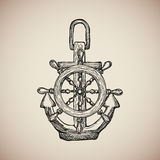 Le vintage Marine Anchor avec le volant gravent Vecteur Photo stock