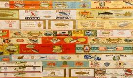 Le vintage marque des cannneries de saumons de l'Orégon Photos libres de droits