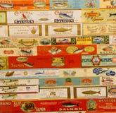 Le vintage marque des cannneries de saumons de l'Orégon Images stock