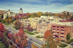 Le vintage a modifié la tonalité le centre ville de Salt Lake City en automne, Etats-Unis Images libres de droits