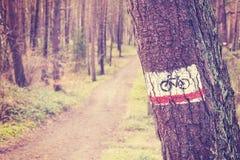 Le vintage a modifié la tonalité le signe de traînée de vélo peint sur un arbre dans la forêt Image stock