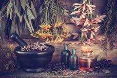 Le vintage a stylisé la photo des groupes et du mortier d'herbes curatives Photo stock