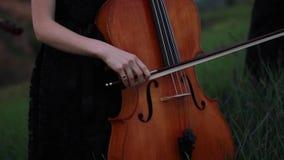 Le violoncelliste de femme joue le violoncelle sur le pré au crépuscule banque de vidéos