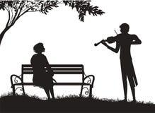 Le violoniste joue pour la fille de s s'asseyant sur le banc de s sous l'arbre de s, musique romantique illustration stock