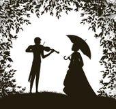 Le violoniste joue pour la fille de s, la date romantique superbe, mélodie d'été pour vous, illustration stock