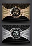 Le VIP PASSENT avec le cadre de vintage et le fond de tissu Photo stock