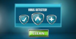 Le virus a détecté l'interface du logiciel avec le bouton et les boucliers propres Images stock