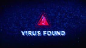 Le virus a trouvé l'animation des erreurs d'effet de déformation de problème de tic de bruit de Digital des textes illustration de vecteur