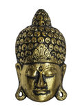 Le visage avant de Bouddha a isolé sur le fond blanc Photo stock