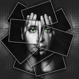 Le visage brille par des mains, visage est divisé en beaucoup de pièces par des cartes, double exposition Photos stock