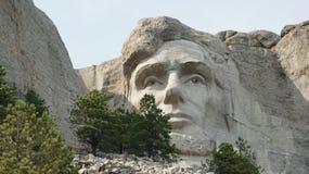 Le visage d'Abraham Lincoln sur le mont Rushmore Images libres de droits