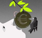 Le visage d'une personne dans le profil avec une bouche ouverte, essaye de mordre la pièce de monnaie avec GBP se connectent la b illustration de vecteur