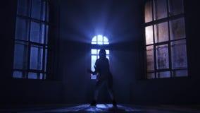 Le visage de danseur classique de fille à la visionneuse fait les pirouettes, silhouette banque de vidéos