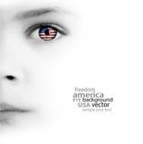 Le visage de l'enfant, l'oeil et le drapeau américain photographie stock libre de droits