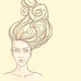 Le visage de la belle fille avec les cheveux sinueux Illustration de Vecteur
