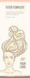 Le visage de la belle fille avec les cheveux sinueux Illustration Libre de Droits