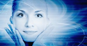 Le visage de la belle fille de cyber images libres de droits