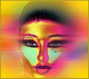 Le visage de la femme abstraite en jaune Photographie stock
