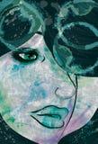 Le visage de la femme avec les éléments grunges et peints Image libre de droits