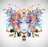 Le visage de la femme intelligente de couleurs Images libres de droits