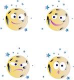 Le visage de lune a formé des sourires comme icônes d'émotion illustration stock