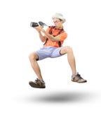 Le visage de portrait du jeune homme prennent une photographie par flo d'appareil-photo de dslr Photographie stock