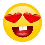 Le visage de sourire jaune de bande dessinée avec la forme de coeur observe l'icône d'émotion de personnes d'Emoji émotion c d'ex illustration libre de droits
