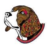 Le visage du chien tiré par la main de couleur, la tête du briquet avec le collier Images stock