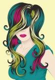 Le visage du femme avec le cheveu détaillé génial illustration stock