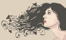 Le visage du femme avec le long cheveu circulant Photo libre de droits