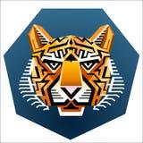 Le visage du tigre géométrique Image stock